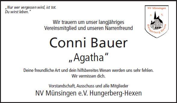 Nachruf Conni Bauer