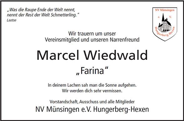 Nachruf Marcel Wiedwald